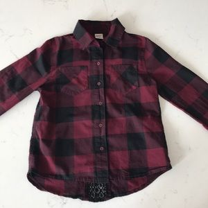 Arizona Jeans Girls Plaid Button Up